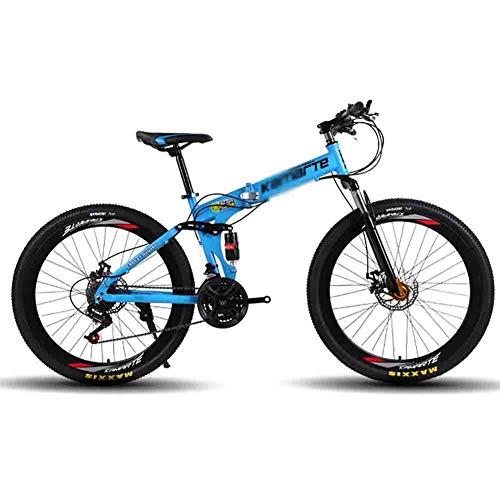 SOAR Bicicleta de montaña Bicicleta MTB de Adultos Plegable Bicicleta de montaña Carretera Bicicletas Plegables for Hombres y Mujeres de 26 Pulgadas Ruedas Ajustables Velocidad Doble Freno de Disco