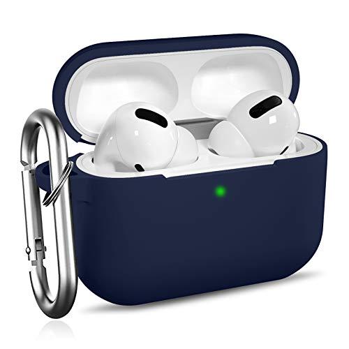 Ouwegaga Kompatibel mit AirPods Pro Hülle - Stoßfeste Silikon Case Schutzhülle [Front-LED Sichtbar] mit Karabiner Kompatibel mit Apple AirPods Pro 2019, Blau