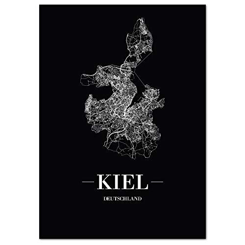 JUNIWORDS Stadtposter, Kiel, Wähle eine Größe, 30 x 40 cm, Poster, Schrift A, Schwarz