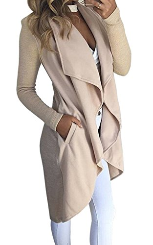 Minetom Damen Herbst und Winter Elegant Mäntel Trench Coat Outwear Wasserfall Schnitt Jacke Lang Kurz dünner Stoffgürtel (DE 34, Beige)
