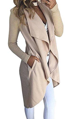 Minetom Damen Herbst und Winter Elegant Mäntel Trench Coat Outwear Wasserfall Schnitt Jacke Lang Kurz dünner Stoffgürtel Beige DE 36