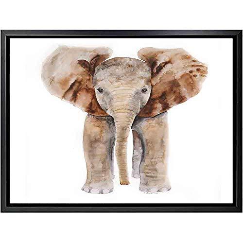 HXQQ Moderne Elefantenposter und Drucke Wand Pop Art Nashorn Gemälde auf Leinwand Bild Wohnzimmer Blume Wohnkultur 50x70cm ohne Rahmen