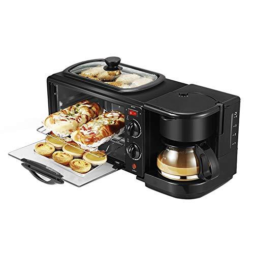 3-in-1-Toaster, Multifunktions-Kaffeemaschine, Bratpfanne, Mini-Backofen, 30-minütiges Timing, gleichmäßige Erwärmung, 220 V schwarz