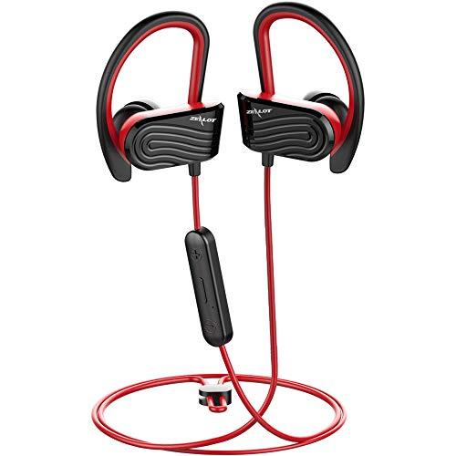 Zealot H12 Bluetooth-Sport-Kopfhörer, Bluetooth 5.0, kabellos, Stereo-In-Ear-Kopfhörer, schweißresistent, für Radfahren, Laufen, eingebautes Mikrofon, für Samsung iPhone etc, rot