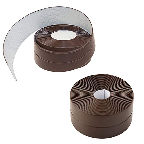 Gizhome Caulk Strip PE Self Adhesive Tape 2 Pack for Bathtub Bathroom Shower Toilet Kitchen and Wall Sealing 1-1/2' x 11'- Brown