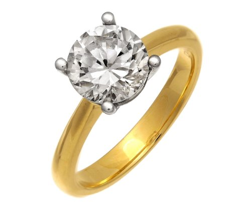 Naava Women's 18 ct Yellow Gold Solitaire Engagement Ring, IJ/I Certified Diamond, Round Brilliant, 2.00ct