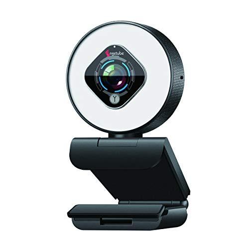 Streaming Webcam con Anillo de Luz de Brillo Ajustable, Cámara Web HD 1080P Micrófono Dual Incorporado y Cámara Web USB Pro con Enfoque Automático para PC Mac Windows Laptop Twitch Xbox One Skype