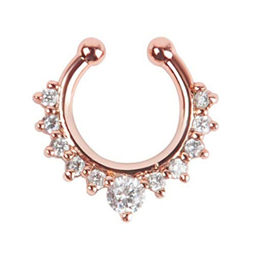 Toporchid Crystal Fake Nose Ring Piercing Faux Body Jewelry Hoop For Women(Rose gold)