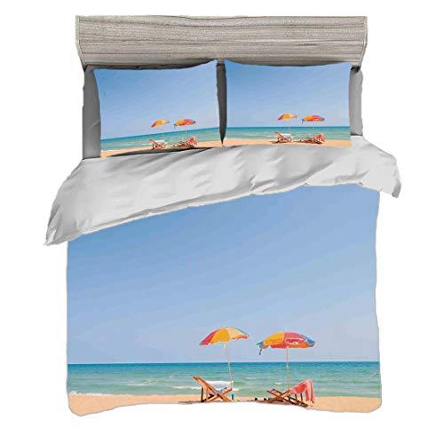 Bettwäscheset (240 x 260cm) mit 2 Kissenbezügen Seaside Decor Digitaldruck Bettwäsche Strandkorb-Regenschirm auf Strand-Freizeit-Touristenattraktions-dekorativem Foto, Türkis-Beige Pflegeleicht antial