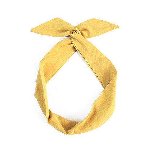 Skyeye 1 * Piece Girl rétro Couleur Unie Oreilles de Lapin Style Bande de Cheveux Cross Bow Bandeau Bande de Cheveux Accessoires pour Cheveux(Jaune)