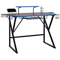 Amazon Basics Gaming Computer Desk with Storage for Controller, Headphone & Speaker (Blue)