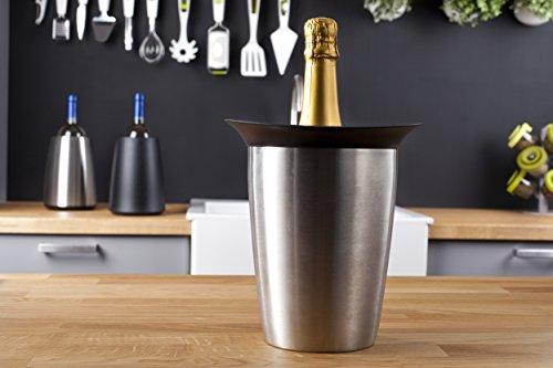 Vacu Vin Secchio per Bottiglie di Champagne Senza ghiaggio Rinfrescatore Rigido Elegant, Acciaio Inossidabile, Unica