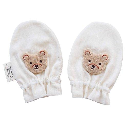ベビーミトン ベロアモチーフ クマさん オーガニックコットン ガーゼミトン 日本製 アモローサマンマ Amorosa mamma くまさん 新生児 赤ちゃん