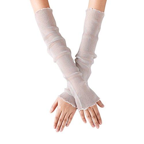 JIAHG Damen Kühlung Arm Ärmel UV-Sonnenschutz Stulpen Mädchen Anti-Rutsch Armstulpe Sportstulpe für Radfahren Laufen Golf Reise Einkaufen L:52cm