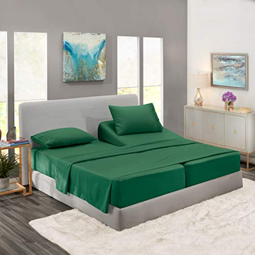 Nestl Bedding Soft Sheets Set – 5 Piece Bed Sheet Set, 3-Line Design Pillowcases – Wrinkle Free – 2 Fit Deep Pocket Fitted Sheets – Free Warranty Included – Split King, Hunter Green