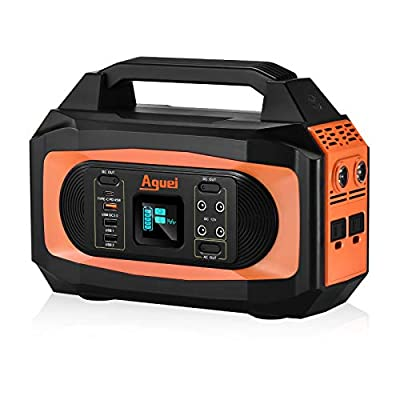 Aguei Portable Power Station,Power Outage Backup Battery ,400W/380Wh/110V/110000mAh Solar Power Charger,Pure Sine Wave AC Outlet/Type-C PD45W/QC3.0,Lithium Battery,Generator Power Supply for CPAP,Outdoor Adventure Road Trip Camping Emergency