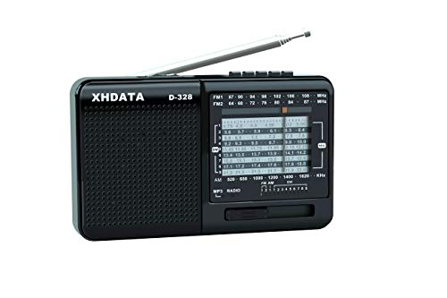 XHDATA D-328 Shortwave AM FM DSP Portable Small Multi Band Radio Stereo MP3 Player with Rechargeable Battery Earphone Jack Portable Multimedia Speaker with USB Micro SD Card Jack (Black)