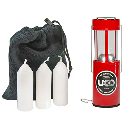 UCO Original Candle Lantern Value Pack with 3 Candles and Storage Bag, Red, One Size