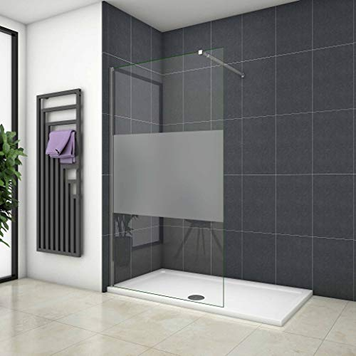 Mamparas ducha Panel Pantalla Fija vidrio esmerilado 8mm - Barra 70-120cm - 120x200cm