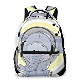 LNLN Mochila Casual para niñas Cute Elephant Wearing Headphones Laptop Backpack School Backpack for Men Women Lightweight Travel Casual Durable Daily Daypack College Student Rucksack 11 5in X 8in X
