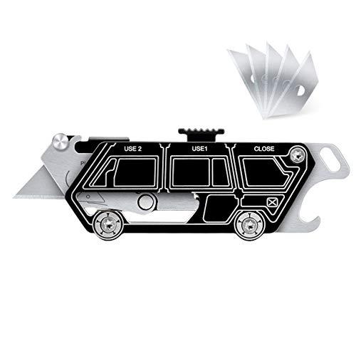 BIBURY EDC Tool, Mini Cuttermesser Multifunktionswerkzeug mit 5 Ersatzklingen, Schlüsselring Multitool mit Schlüsselloch und Flaschenöffner, Verstellbarer Teppichmesser zum Auspacken, DIY - Schwarz