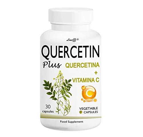 QUERCETIN Plus Line@ + VITAMINA C - Un nuovo alleato per la lotta ai MALESSERI di STAGIONE! 200 mg di QUERCETINA + 100 mg di VITAMINA C per capsula! (30cps (1 MESE))