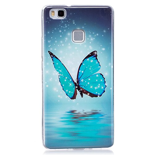 ISAKEN Compatibile con Huawei P9 Lite Custodia, Agganciabile Luminosa Cover Case con Lampeggiante Ultra Sottile Morbido TPU Cover Rigida Gel Silicone Protettivo Custodia - Glitter Farfalle