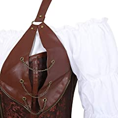 Grebrafan Steampunk Leather Corsets 3 Piece Outfits for Women Bustiers Skirt White Blouse Set Retro Gothic (UK(16-18) 3XL, Brown) #3