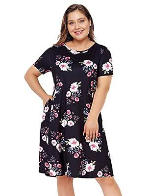 Clearlove Womens Long Sleeve Plus Size Tunic Dress A-line Casual Tshirt Dress