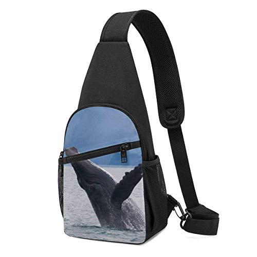 Hdadwy Ballena jorobada saltando hacia arriba Mochila de hombro Sling Chest Bag Crossbody Bag Cover Pack Mochila