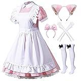 Japanese Anime 6Pcs Lolita French Maid Apron Fancy Dress Cosplay Costume Gloves Headwear Socks Set(Pink S)