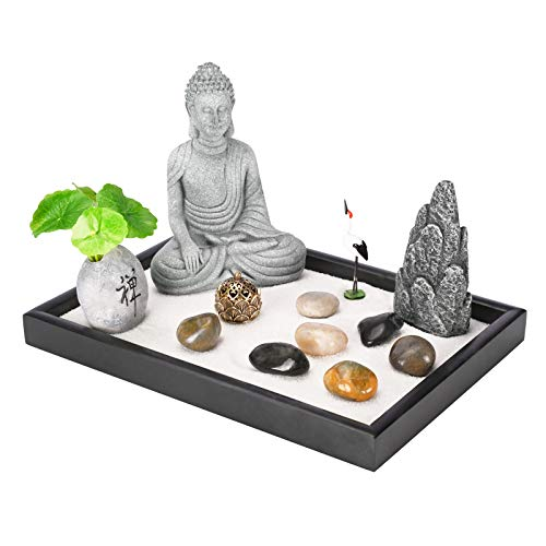 Leego Tabletop Mini Meditation Zen Garden Kit with 5.3 Inches Tall Buddha Statue Figurine, Incense Burner, Rock Sand Garden Set for Gift, Home and Office Desk Décor