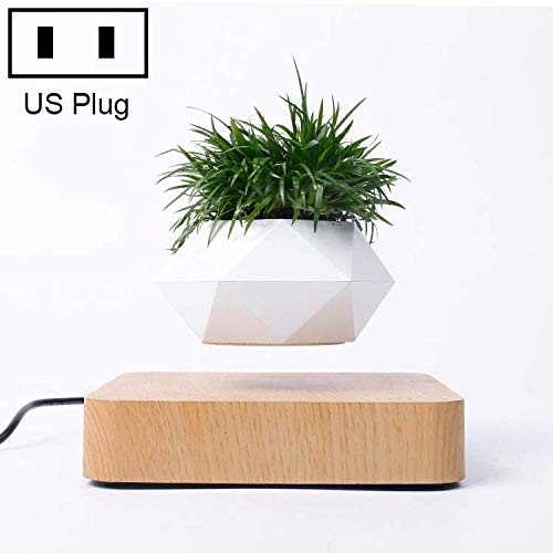 FScl Een Diamond Plastic Bloempot + Dark Houten Korrel Base magnetische levitatie Potplant Home Decoration, US Plug (Color : Color2)