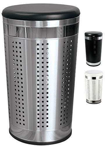 MSV Wäschetonne Wäschekorb Wäschesammler Wäschetruhe mit Sitzkissen Rund, 60,5 cm Höhe Metall Silber