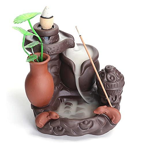 H·Aimee Quemador de Incienso de reflujo con diseño de dragón,Fabricado en cerámica, hogar