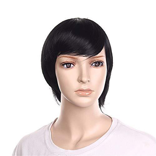 Koibless Perruque Femme Noir Oblique Frange Cheveux Courts Raides Résistant À La Chaleur La Synthèse Cosplay Fête Ensemble De Cheveux
