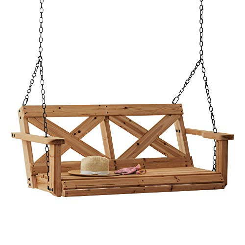 Backyard Discovery 2006614 Farmhouse Cedar Porch Swing, Light Brown