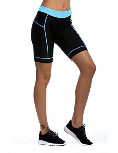 iCreat Damen Fahrradhose Radhose Kurz Radlerhose Radshort Sporthose mit Sitzpolster, Blau GR: DE M/ ASIA L - 2