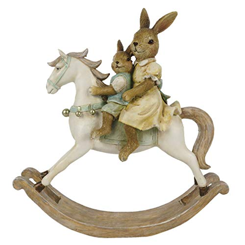Coniglietto pasquale vintage, cavallo a dondolo, coniglietto pasquale, decorazione shabby, casa di campagna