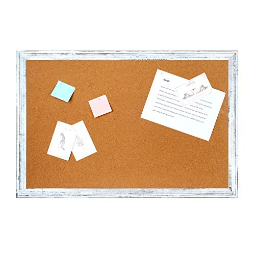 4 THOUGHT Cork Board Bulletin Board 48 x 36 Inches, Corkboard Notice Pin Memo Board with Vintage Style White Wooden Frame for Display and Organize Home, Office and Kitchen, 4 x 3 Feet, 10 Push Pins