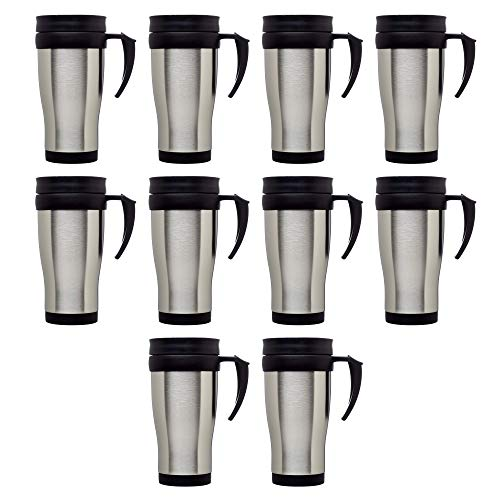 Travel Mugs 14 Oz. - 10 pack - Double Wall Stainless Steel Insulated Tumblers - Stainless Steel Outer Shell With Vacuum Double Walled Thermal Plastic Insulation Liner - Silver