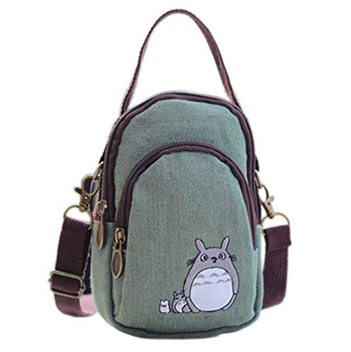 YaJaMa Handtasche aus Segeltuch mit Reißverschluss, mehrere Taschen, kleine Umhängetasche, Handtasche, Smartphone, Geldbörse für Frauen und Mädchen mit Handtragefunktion, Grn (Green Totoro), Small
