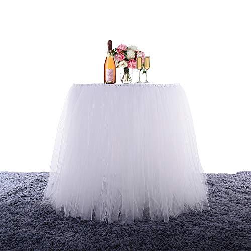 BEST OF BEST Handgefertigt, Tüll Tischrock für Falten-, für Party, Hochzeit, Weihnachten, Partys weiß
