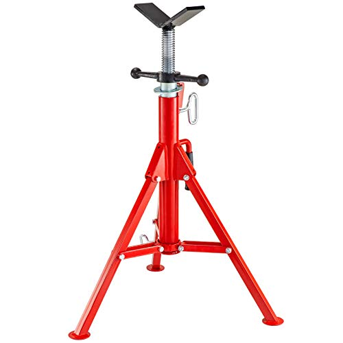 Mophorn 0.5-12 inch V Head Pipe Stand Adjustable Height 28-52 inch 6800lb Pipe Jack Stands Folding Portable High Folding Pipe Stand with V Head Fold A Trailer Jacks