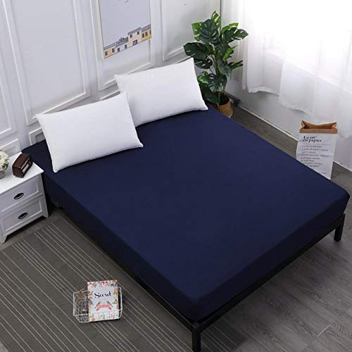 APOO Waterproof Mattress Protector Solid Color Mattress Cover Fitted Sheet Style Separated Water Bed Pad Linens With Elastic,Navy Blue,160X200X30Cm