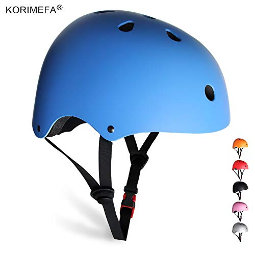 KORIMEFA Kids Bike Helmet Youth Adult Skateboard Helmet Adjustable Helmet CPSC Certified MultiSport Helmet for Cycling Scooter Roller Skate Inline Skating Rollerblading for Men Women Blue M