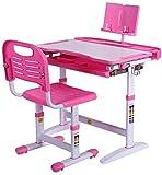 Kinderschreibtisch und Stuhl gesetzt, Kinder Studie Schreibtisch Stuhl Set Multifunktions Studie Tisch mit Buchständer 922 (Color : Pink Without Lamp, Size : 70x40cm)