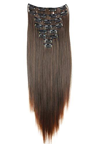 PRETTYSHOP XL 60cm 7 Teile Set CLIP IN EXTENSIONS Haarverlängerung Haarteil Glatt Braun Mix CE18