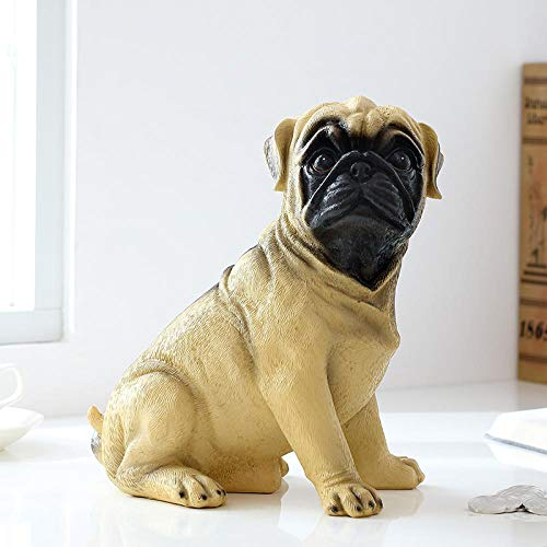 TWGDH R Mops Hund Handwerk Sparbüchsen Imitation Hund Sparschwein Kabinett Ornamente Familie Dekorative Pop-Art-Münzen Geldkassette Kinder Geschenk