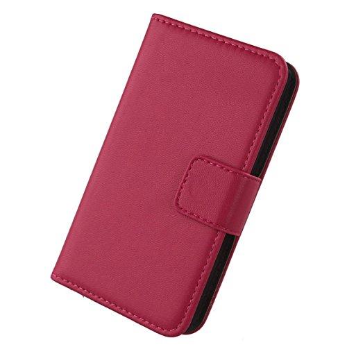 Gukas Design Echt Leder Tasche Für Kazam Th&er 345L Hülle Handy Flip Brieftasche mit Kartenfächer Schutz Protektiv Genuine Premium Hülle Cover Etui Skin Shell (Rosa)